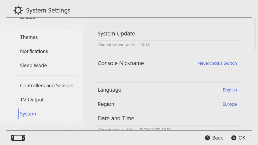 Nintendo Switch system settings firmware version 10.1.0